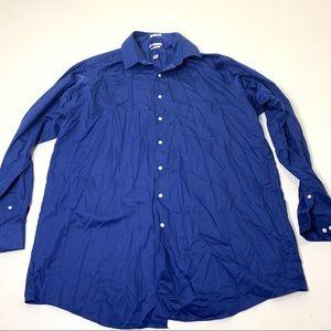 Men's Size 18 1/2 37/38 Tall Blue Dress Shirt